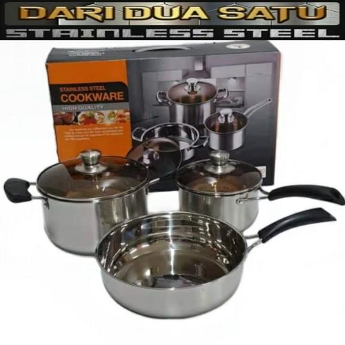 Foto Produk Panci Set Stainless Steel Cookware Set High Quality 3 pc dari DariDuaSatu