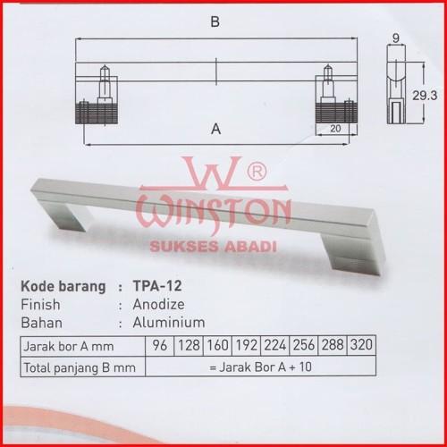 Foto Produk PROMO Handle TPA 12 Kotak Alumunium 160mm Anodize Laci Elegan dari WINSTON-OK OFFICIAL STORE
