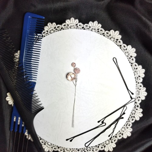 Foto Produk Drop Hairpin aksesoris asesoris headpiece rambut sanggul CRYSTAL PEACH dari Natalia the Princess