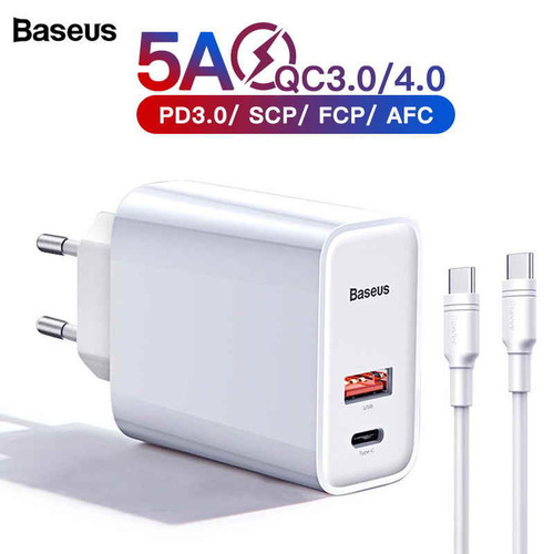 Foto Produk BASEUS ADAPTOR CHARGER PPS 30W + KABEL TYPE-C TO TYPE-C PD QC 3.0 - WHITE dari GADVENTIA Official Store