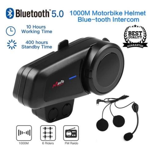 Foto Produk Intercom Helm Maxto M2 Bluetooth Helm Versi 5.0 Confrence 6 Rider - HELM HALF FACE dari Rockbros Bike