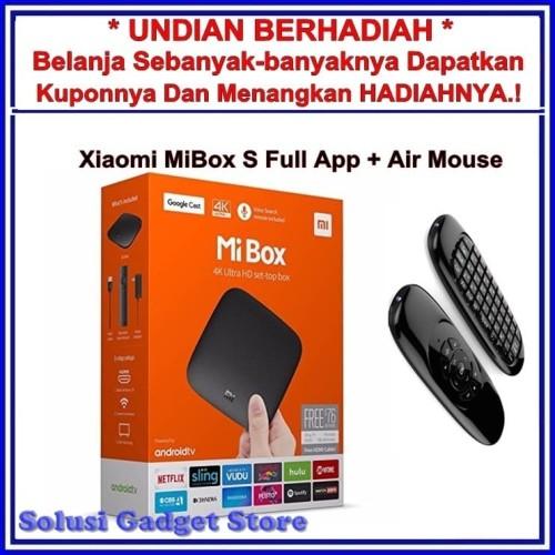 Foto Produk Xiaomi Mi Box S 4K Full App International Free Airmouse Keyboard dari Solusi Gadget Store