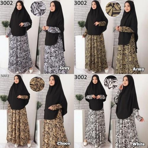 Foto Produk Baju Gamis Syari Syar'i Set Baju Gamis Wanita 3002 - Grey dari Hitjab & Co