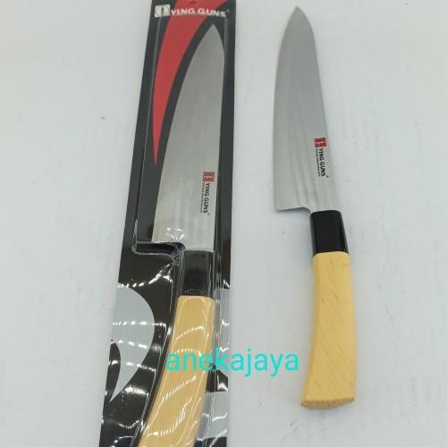 Foto Produk Pisau dapur tajam Ying Guns 33 cm stainless, gagang motif kayu dari anekajaya078