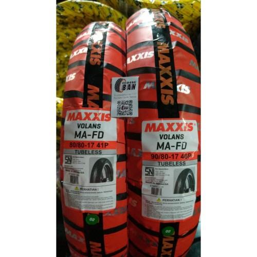 Foto Produk Paket Ban Maxxis Volans Uk 80 / 80 -17 dan 90 / 80 -17 Tubles Diamond dari gudangban_id