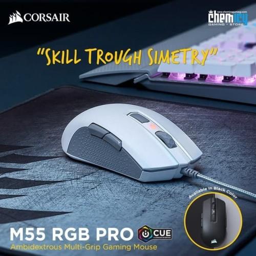 Foto Produk Corsair M55 RGB Pro Ambidextrous Multi-Grip Gaming Mouse - Putih dari Chemicy Gaming