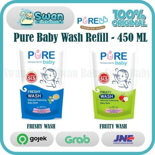 Foto Produk Pure Baby Wash 450 ml (REFILL) All Varian / Sabun Pure Refill 450ml - Fruity dari Swan Baby Shop
