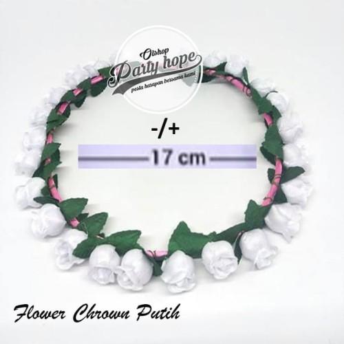 Foto Produk Mahkota Bunga putih / Flower Crown Bridal Shower / Bando Bunga putih dari PARTY HOPE 2