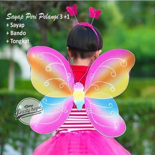 Foto Produk set mahkota peri pelangi / mahkota tongkat sayap kupu kupu rainbow dari PARTY HOPE 2