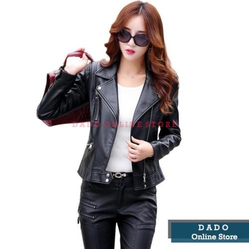 Foto Produk Jaket Jessica Kulit Sintetis PU Leather Hitam Wanita - Hitam, M dari Dado
