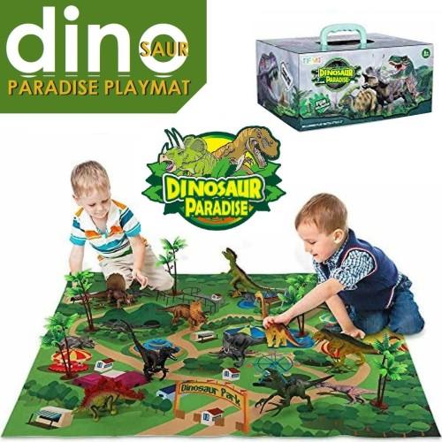 Foto Produk Mainan Dino Paradise / Dinosaur Playmat Set / Mainan Dinosaurus mencip dari JShoppe