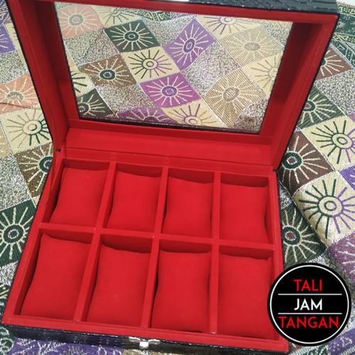 Foto Produk Kotak Jam Kayu Lapis Kulit Croco Sintetis Isi 8 dari Tali Jam Tangan!com