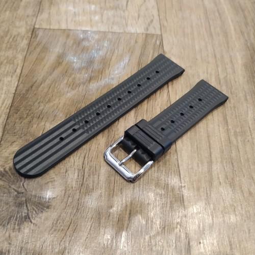 Foto Produk 20mm 22mm Waffle Rubber Strap Fit For Seiko Diver Tali Jam Karet - Hitam dari Tali Jam Tangan!com