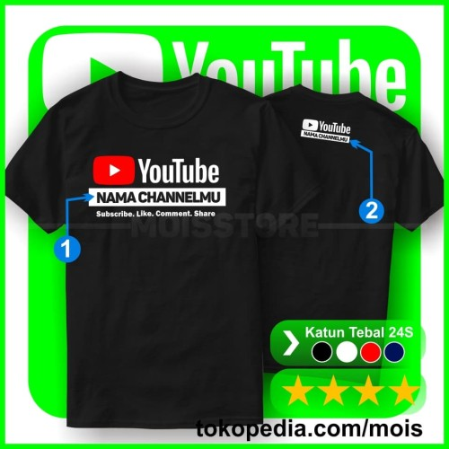 Foto Produk Kaos Youtube Keren - Custom Nama Channel - Tshirt Baju Distro dari Mois Store