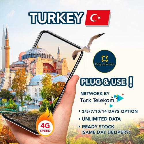 Foto Produk 5/7/10/14/20 DAY UNLIMITED 4G simcard Turkey, VODAFONE network - Lima Hari dari Ezzy Connect