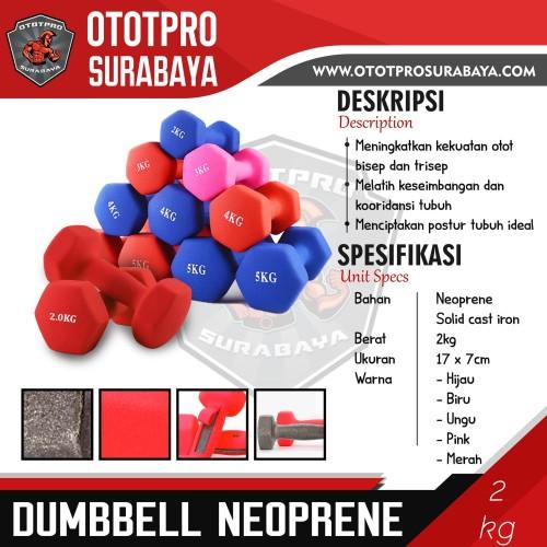 Foto Produk Dumbell Neoprene 2Kg /Barbel Mini/Dumbel Warna/Kecil/Karet/2 Kg/Vinyl - Biru dari Ototpro Surabaya Muscle