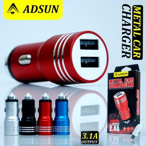 Foto Produk SAVER MOBIL ADSUN METAL CAR CHARGER 2.4A DUAL USB + CABLE dari KC Accessories.
