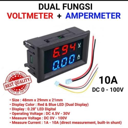 Foto Produk Dual Volt Amp Meter Digital Ampere Meter Voltmeter 10A 0-100V Ammeter dari sakurashop29
