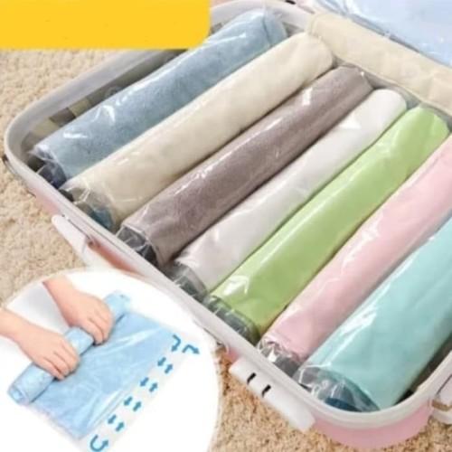 Foto Produk Kantong Vakum Pakaian Baju Travel Portable Vacuum Gulung Tanpa Pompa - 35 x 50 dari Home Diaries