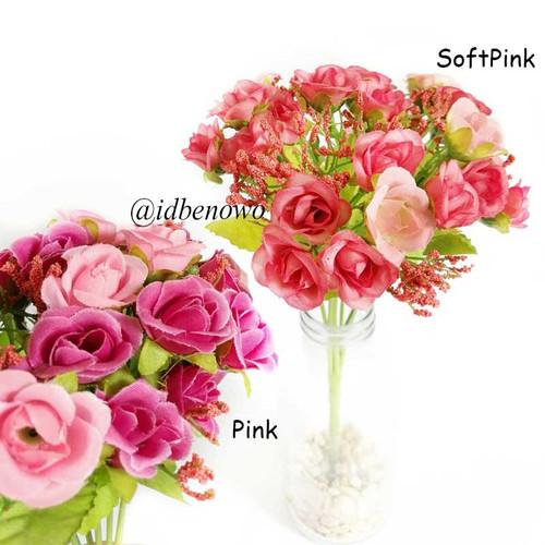 Foto Produk Bunga Artificial Bunga Plastik Mawar Dekorasi Hiasan dan Buket - AF10 - Merah Muda dari Benowo id