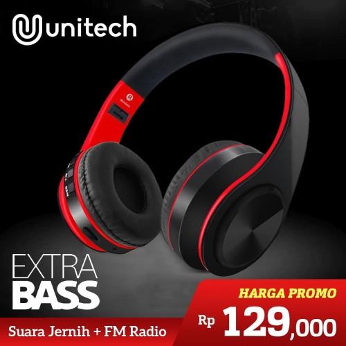 Foto Produk Unitech Headset Headphone Bluetooth Wireless Portable Super Bass D-422 - Biru dari Unitech Official