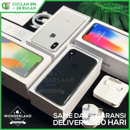 Foto Produk Second iPhone X 64GB Grey/Silver, Mulus LikeNew, Fullset Original dari Wonderland Store