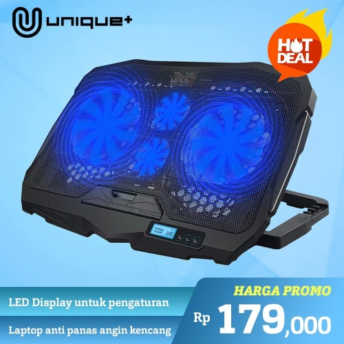Foto Produk Unique Cooling Pad Coolingpad Cooler Laptop 4 Fan Blue LED Lamp LCD - Hitam dari Unitech Official