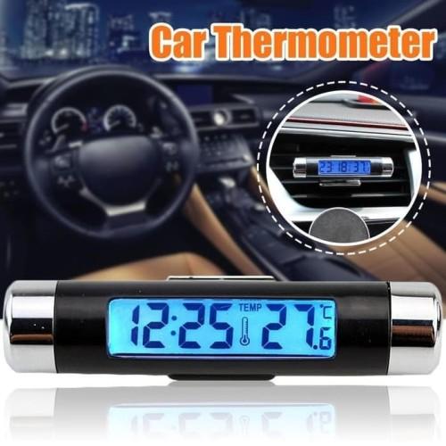 Foto Produk K01 Jam Mobil Digital Suhu Termometer Mobil Car Clock Backlight dari lbagstore