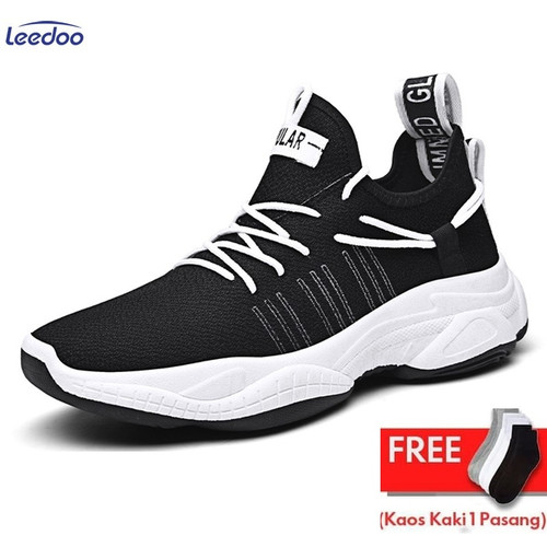 Foto Produk Leedoo Sepatu Olahraga Fashion Sneakers Pria MR213 - Hitam, 41 dari Leedoo