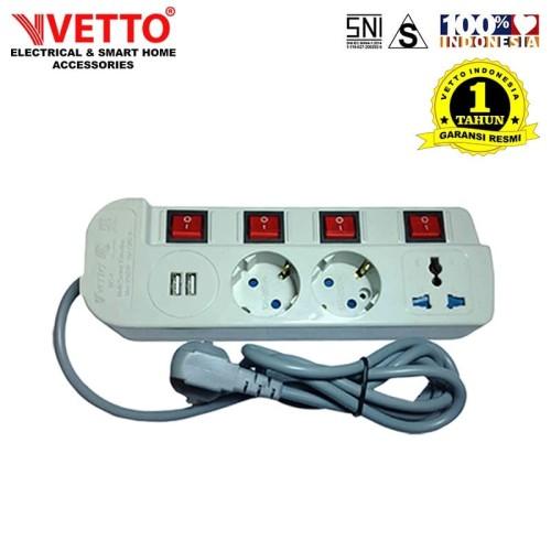 Foto Produk VETTO Stop Kontak MS4/3M Universal SNI & 2x 2.1A USB 3.0 dari Vetto Indonesia