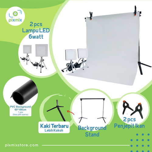 Foto Produk PAKET KOMPLIT MINI STUDIO FOTO - 60 CM BACKGROUND + 6W LAMP + STAND dari pixmix