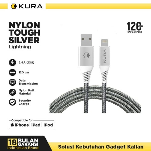 Foto Produk KURA Nylon Tough Silver Cable - Kabel Data Lightning dari KURA Elektronik