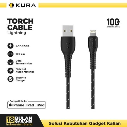 Foto Produk KURA Torch Cable - Kabel Data Lightning 3A - Putih dari KURA Elektronik