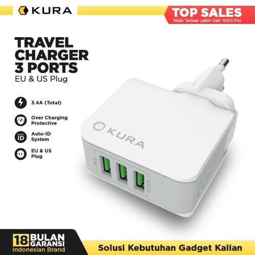 Foto Produk KURA Travel Charger 3 Port dari KURA Elektronik