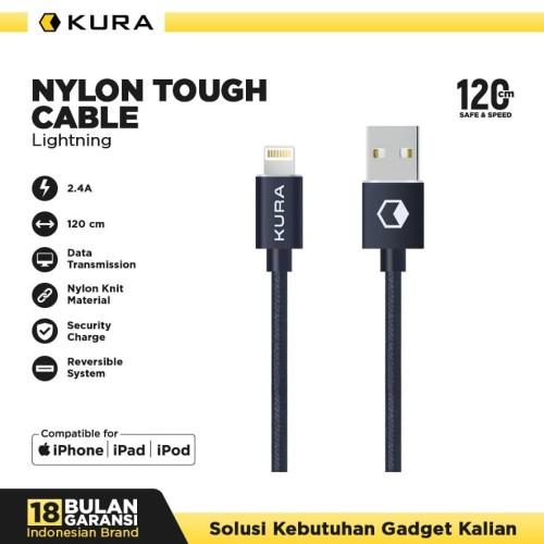 Foto Produk KURA Nylon Tough Cable - Kabel Data Lightning - Hitam dari KURA Elektronik