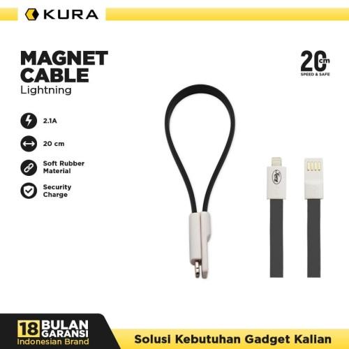 Foto Produk KURA Magnet Cable - Kabel Data Lightning - Merah Muda dari KURA Elektronik