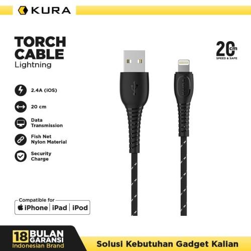 Foto Produk KURA Torch Cable - Kabel Data Lightning 3A 20 cm - Kuning dari KURA Elektronik