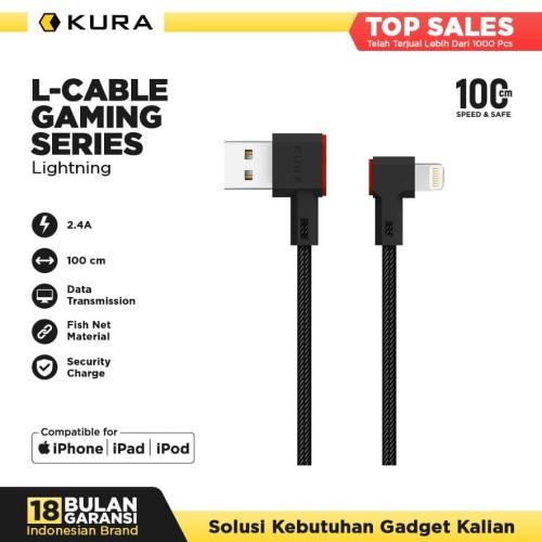 Foto Produk KURA L Cable ( Gaming Series ) - Kabel Data Lightning - Hitam dari KURA Elektronik