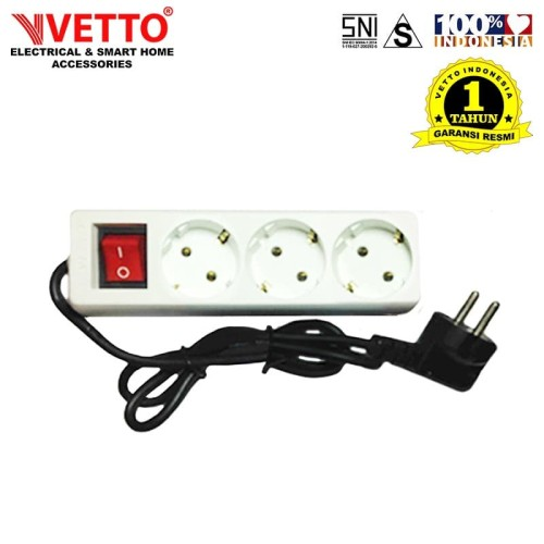Foto Produk VETTO Stop kontak 3 Lubang 3 meter Full SNI - V8203/3M dari Vetto Indonesia