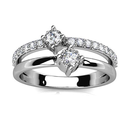 Foto Produk Twin Royal Ring - Cincin Crystal Swarovksi by Her Jewellery - White Gold, 7 dari Her Jewellery
