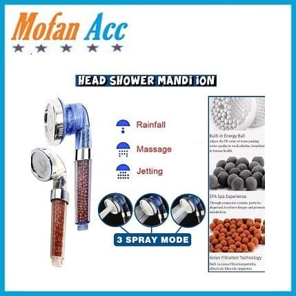 Foto Produk Kepala Shower Kamar Mandi Head Ion SPA Ionizer Healthy Crystal 3 Mode dari mofan accesories