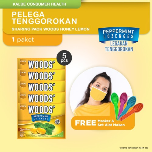 Foto Produk Sharing Pack Woods Lozenges Free Masker - Honey Lemon dari Kalbe Consumer Health