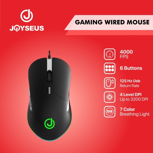 Foto Produk Gaming Mouse JOYSEUS RGB 3200DPI LED USB Professional - MS0005 dari Joyseus Official Store
