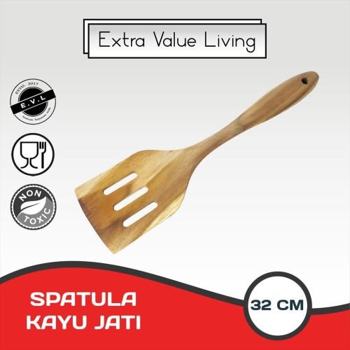 Foto Produk Spatula Lubang Kayu Jati Sutil Sodet Masak Kayu Jati EVL-SKG-04-LBG dari Extra Value Living