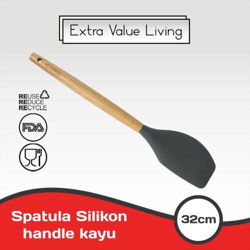 Foto Produk CYPRUZ Spatula Silikon Lengkung Gagang Kayu EVL-AM-0937-AU-LK - Hijau dari Extra Value Living