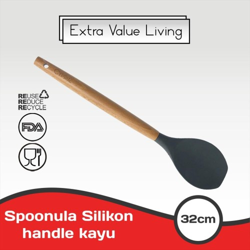 Foto Produk CYPRUZ Sendok Serving Lengkung Silikon Gagang Kayu EVL-AM-0935-AU-HS dari Extra Value Living