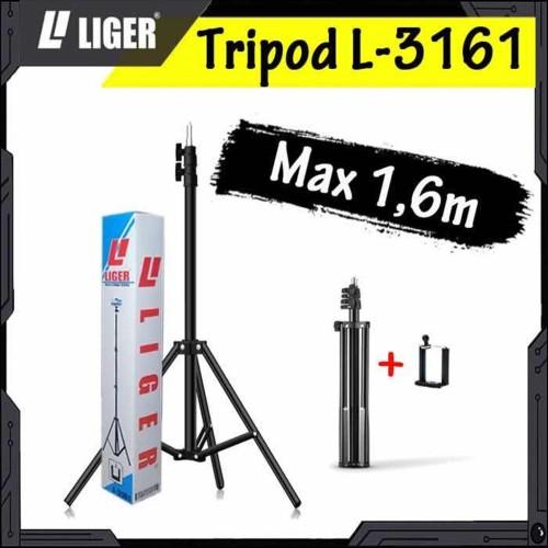 Foto Produk L-3161 Photography Light Stand Portable 160cm (Medium) with Holder U dari LIGER OFFICIAL STORE
