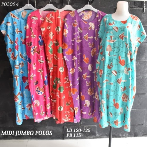 Foto Produk Grosir Daster Midi Jumbo Rayon Polos Murah Baju Tidur Kode 4 dari Rumah Batik Pekalongan 2