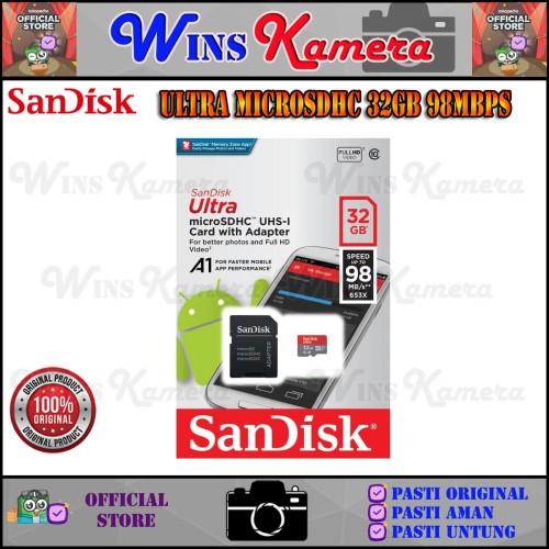 Foto Produk Sandisk Ultra MicroSD 32GB/98Mbps ORIGINAL dari Wins Kamera