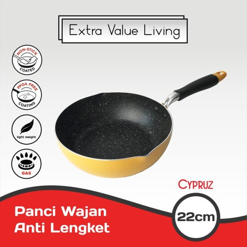 Foto Produk CYPRUZ Panci Wajan Tumis 22 CM Wok Pan Anti Lengket EVL-FP-0440-22 dari Extra Value Living